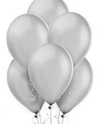 "10 Metallic Silver 11"" Helium Filled Latex Balloons"