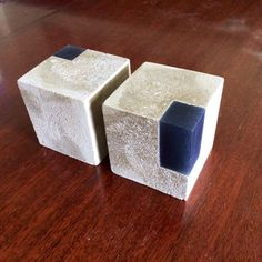 Hand-made modern concrete and translucent pigmented urethane resin bookends - different colors for resin are available
