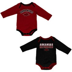 Arkansas Razorbacks Colosseum Infant Lil's Fan Long Sleeve 2-Pack Bodysuit Set - Cardinal/Black - $19.99