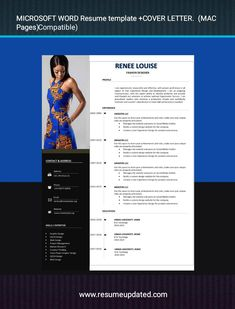 Microsoft Word Resume Template, Modern Resume Template, Cv Template, Resume Templates, Cv Words, Creative Resume, Creative Design, Cover Letter For Resume, Professional Resume