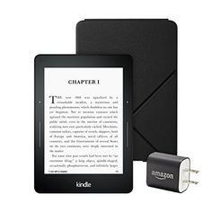 Kindle Voyage Essentials Bundle including Kindle Voyage 6 EReader with Special Offers Amazon Leather Cover  Black and Power Adapter * ** AMAZON BEST BUY **  #AmazonKindle#Kindle