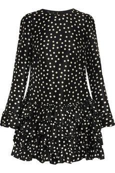 Dolce & Gabbana Polka-dot ruffled silk mini dress