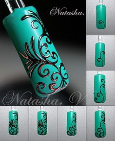 silver embossed filigree over aqua Nail Art Hacks, Nail Art Diy, Easy Nail Art, Nail Art Dentelle, Nail Art Arabesque, Swirl Nail Art, Mandala Nails, Nails Only, Nail Polish Art