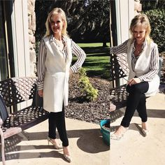 Winter fashion in #Florida! I won't complain about meetings in the #sunshinestate  I am wearing #longsleeveshirt because the meetings are inside and the ac can get chilly. Coupled with a #winter white vest, #skinny black #jeggings and the #snakeskin heels  all from #whitehouseblackmarket #whbm #sunshine #loveflorida  #whatiwore #wiw #over40fashion #fashionoverforty #shopaholic #almost50 #over40style #over40andfabulous #over40fashionblogger #ootd #highheels #shoeaddict #fashionaddict…
