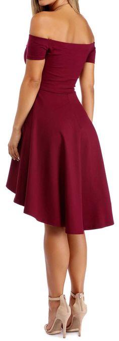 ba7873f664e5 Burgundy Off Shoulder All the Rage Skater Dresses Cheap Burgundy Dresses