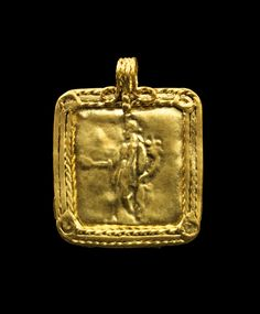 Golden pendant showing Fortuna with patera and cornucopia. Roman, 1st - 2nd century A.D.