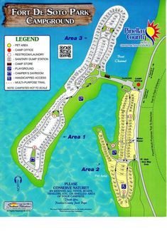 Fort De Soto Campground is a coastal treasure near St. This county campground is offers beautiful waterfront sites and a ton of outdoor activities. Rv Parks In Florida, Florida Camping, Beach Camping, Florida Travel, Visit Florida, Destin Florida, Camping Places, Camping Spots, Rv Camping