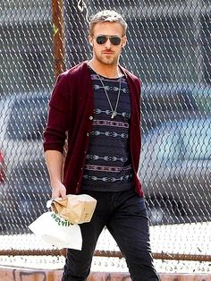 maroon cardigan and Indian print tee... it'd be nicer in tank top form but it's still pretty great