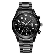 7.99$  Buy now - http://alivd6.shopchina.info/go.php?t=32755883024 - OUKESHI Stainless Steel Quartz Men Watch Top Brand Luxury Calendar Wristwatch Fashion Casual Boutique Black Watches Relojes 2017  #buyininternet