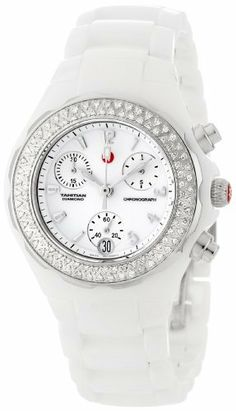 Michele Women's MWW12A000001 Ceramic Analog Textured White Enamel and Diamonds Watch