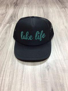 c4b424a3f58 Lake Life Women s Trucker Hat Lake Trucker Hats Glitter Summer Trucker Hats  Womens Summer Trucker Hats