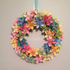 "Spring Bloom  Origami/Kusudama Paper Flower Wreath 12""// Wedding/ Birthday/ Table Centerpiece/ Baby Shower/ Nursery/ Bridal Shower"