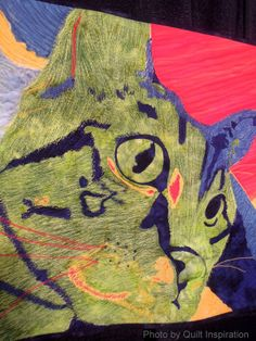 "close up, "" Neon Kitty""  by Laurie Russman.  2013 Houston IQF:  It's Raining Cats and Dogs. Photo by Quilt Inspiration"