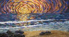 mosaic sunset   Winter Sunset Mosaic   Mosaics - Seascapes