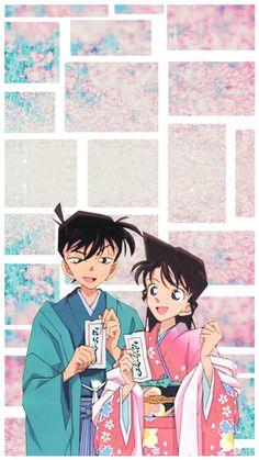 Shinichi and Ran Manga Detective Conan, Detective Conan Shinichi, Ran And Shinichi, Kudo Shinichi, Otaku Anime, Anime Guys, Manga Anime, Magic Kaito, Cute Anime Coupes