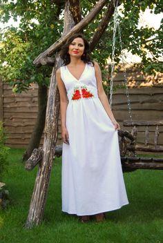 93992e9997c Ukrainian Women s linen (flax) long dress with hand-emboidery beadwork. Ukie  Style