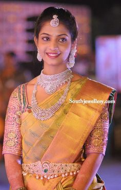 South Indian bride in diamond jewellery