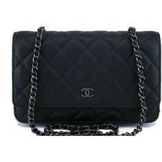 Pre-Owned 17S Chanel So Black Classic Quilted WOC Wallet on Chain Flap... ($2,999) ❤ liked on Polyvore featuring bags, handbags, black, quilted leather handbags, cross-body handbag, chanel purse, man bag and crossbody purses