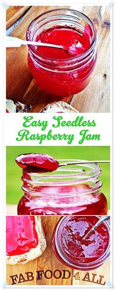 Easy Seedless Raspberry Jam - Fab Food 4 All - Jams - Freezer Jam Recipes, Jelly Recipes, Canning Recipes, Fruit Recipes, Vegan Recipes Easy, Dessert Recipes, Desserts, Delicious Recipes, Kitchen Recipes