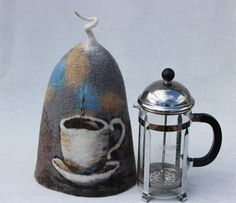 Felted Cafetiere Cosy brown French Press cozy  by FeltyPretties