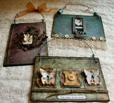 Book covers into multimedia wall hangings by I See Dead Books