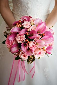 possible bridal bouquet love the pink hued calla lillies. Not sure about the bouquet just being in 1 hue, or that pink. Bridal Bouquet Pink, Bride Bouquets, Bouquet Rose, Bouquet Wedding, Wedding Costs, Dream Wedding, Gold Wedding, Wedding Book, Perfect Wedding