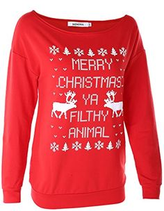 NENONA Womens Cute Ugly Xmas Sweatshirt Merry Christmas Loose Pullover TshirtsRedL -- You can find more details by visiting the image link.