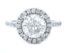 Round cut diamond engagement ring antique art deco style by KNRINC, $5299.00