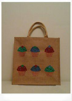 Hand painted jute bag  cupcakes e9839f6cd8b76