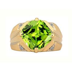 Large Diamond and Gold Men's Antique Cushion Cut Peridot Ring Available Exclusively at Gemologica.com