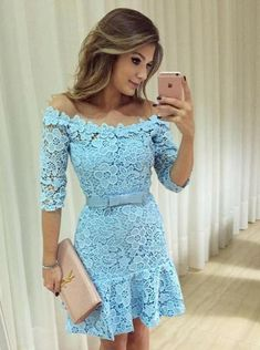 Cocktail Dresses Able Robe De Cocktail Vestido De Festa Curto Royal Blue Lace Cocktail Dresses 2017 Short Party Homecoming Dress Organza Half Sleeve Elegant And Graceful