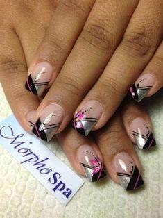 French Nail Designs, Colorful Nail Designs, Beautiful Nail Designs, Acrylic Nail Designs, Nail Art Designs, Acrylic Colors, Pretty Nail Colors, Pretty Nail Art, November Nails
