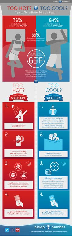 Do you sleep too hot? Too cool? Whichever side of the bed you fall on, we have tips to help you get a better night's sleep! 'Pin' to help your family and friends rest easier tonight thanks to the #DualTemp Layer by #SleepNumber!