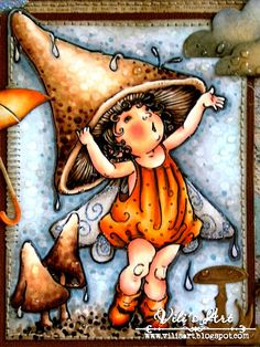 Vili's Art - Mo Manning digi - note how the stitching is not the same all the way around the image! - Skin / Skin: E11, E50, E51, E93 Dress / Dress: YR16, YR20, YR21, YR27, W7 Wings / Wings: E40, E41, E43, E44, W3 Fungi / Mushrooms : E50, E51, E53, E55, E57, E59 Wallpaper / Background: BG10, W1, W3, Colourless Blender