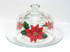 hand painted cheese domes | Hand Painted Poinsettia Cheese Dome, Plate, Server ...