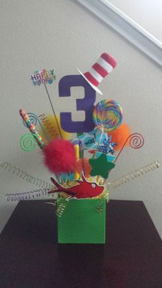 Seuss Centerpiece I made for my 3 year old's party. Unique Birthday Party Ideas, Birthday Parties, 3 Year Olds, I Party, Centerpieces, Anniversary Parties, Birthday Celebrations, Center Pieces, Table Centerpieces