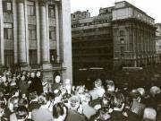 Nicolae Ceauşescu, prim secretar al C.C. al P.C.R., Ion Gh. Maurer, P. Niculescu-Mizil şi ceilalţi membri ai C.C. al P.C.R., la adunarea populaţiei din Capitală, în legătură cu situaţia creată de evenimentele din Cehoslovacia.(21 august 1968) Street View