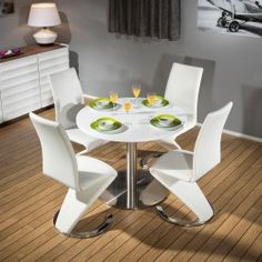 Round Dining Set White 1000mm Dia Corian Table 4x White Z Shape Chairs