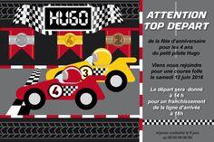 Carton d'invitation anniversaire course de voitures personnalisable