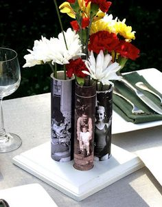 PVC Vases-- they used Mod Podge for the pictures, but maybe just paint a fun design?