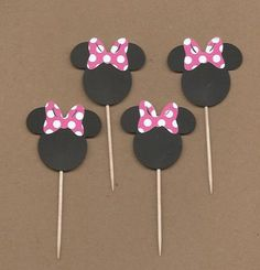 24- 1.5 inch tall Minnie Mouses with hot pink and white polka dot bows party picks cricut die cuts via Etsy
