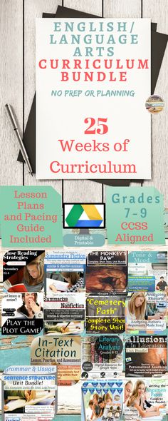 This English/Language Arts Massive Curriculum Bundle includes 14 large teaching units. Many of these units are unit bundles themselves pushing the number of units up to 20 complete teaching units!   Every lesson is CCSS Aligned; these CCSS Standards are outlined within each of the individual units (links below).   All units are digital for applications in a 1:1 Google Drive classroom if you wish. PDF, Word, PowerPoint applications are also included for easy printing.   Each unit has detailed…