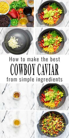 This Cowboy Caviar comes together in around 10 minutes and is made with black beans, corn, tomatoes, cilantro, bell pepper. All covered in a tasty homemade sauce. Great with tortilla chips and a family favorite with big flavor. #vegan #dairyfree #vegetarian #dinner #lunch #mealprep #budgetmeals #cowboycaviar #texascaviar #contentednesscooking Dairy Free Diet, Dairy Free Recipes, Gluten Free, Vegan Breakfast Recipes, Delicious Vegan Recipes, Cowboy Caviar, Easy Party Food, Eating Vegan, Homemade Sauce