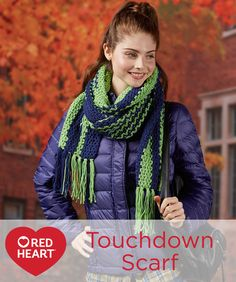 Touchdown Scarf Free Crochet Pattern in Red Heart Yarns -- Cheer for your favorite team in this crocheted super scarf. Dress it up with fringe for style in the stadium and fashion-forward tailgating.