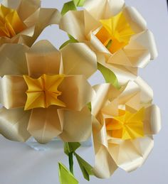 Golden Roses - Origami Paper Flowers, folded with amazing translucent origami paper, Paper Sculpture, Paper Bouquet on Etsy, $95.00