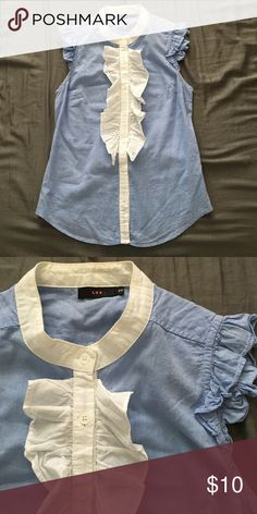 """Chambray ruffle front blouse Cute office blouse! 65% polyester, 35% rayon. Shoulder to shoulder 11.5"""", length 23."""" From urban outfitters but listing as J. Crew for exposure. Size fits like xxs J. Crew Tops Blouses"""