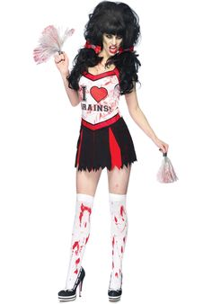 Cheer Zombie Costume, Comes with; Dress, Pom Poms and Brain Hair Bows #FancyDress #Costume #Zombie #Halloween #Cheerleader #Schoolgirl #Highschool