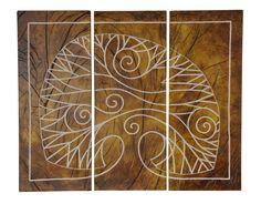Sztukaterie: Tryptyk Drzewo  Tryptyk Drzewo - 75x62cm  Płyty odlewane z gipsu ceramicznego, z charakterystycznymi rzeźbieniami, reliefami i wykończeniem, całość wykonana ręcznie, wykończenie satynowy połysk, waga 1 płyty około 6kg.  Możliwość zawieszenia lub wklejenia w ścianę, na styk bądź z zachowaniem odstępów