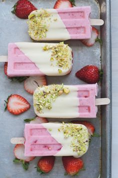 4-Ingredient Strawberry Cream Pops. They come together quickly, which means less time making and more time consuming popsicles. WIN/WIN!