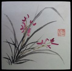 Traditional chinese painting bamboo orchid.